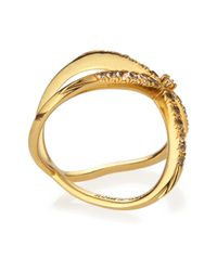 Elizabeth and James - Metallic Windrose Pave White Topaz Ring - Lyst