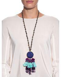 Etro - Blue Multi-Bead Tasselled Necklace - Lyst