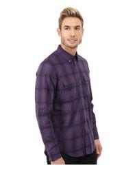 Calvin Klein | Purple Liquid Cotton Twill Dobby Plaid Woven Shirt for Men | Lyst