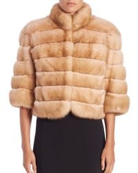 Saks Fifth Avenue - Natural Cropped Sable Fur Jacket - Lyst