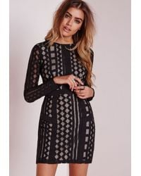 Missguided - Lace Organza Bodycon Dress Black - Lyst