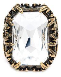 Alexander McQueen | White Swarovski Crystal Cocktail Ring | Lyst