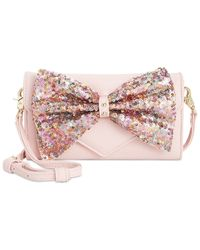 Betsey Johnson | Pink Macy's Exclusive Bow Sequin Wallet Crossbody | Lyst