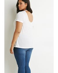 Forever 21 - White Cutout-back Cuffed Tee - Lyst