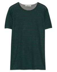 T By Alexander Wang Green Striped Linen and Jersey Tshirt