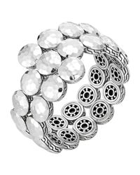 John Hardy | Metallic Dot Silver Disc Double Coil Bracelet | Lyst