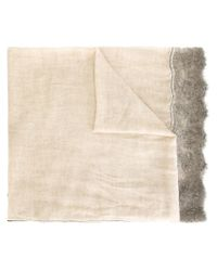 Faliero Sarti - Natural Floral Lace Detail Scarf - Lyst