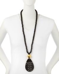 Nest | Black Tigers Eye Necklace With Horn Pendant | Lyst