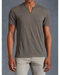 John Varvatos | Gray Short Sleeve Henley With Eyelet Detail for Men | Lyst