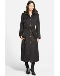London Fog Black Single Breasted Long Trench Coat With Detachable Hood