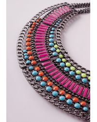 Missguided | Multicolor Statement Beaded Collar Necklace Neon | Lyst