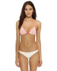 MILLY Pink Fluoro Jacquard Biarritz Bikini Top