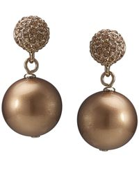 Carolee | Metallic Gold-tone Glass Pearl Crystal Double Drop | Lyst