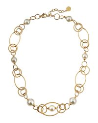 Majorica | Metallic Pearly Interlocking Link Necklace | Lyst