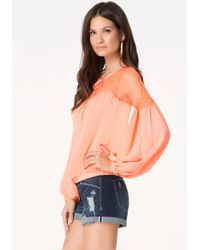 Bebe | Pink Solid Lace Yoke Top | Lyst