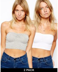 ASOS | Gray The Crop Bandeau Top 2 Pack Save 20% | Lyst