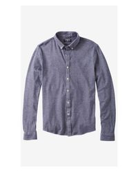 Express - Blue Knit Button-down Shirt for Men - Lyst
