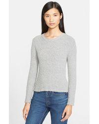 Helmut Lang Gray Slub Cashmere Crewneck Sweater