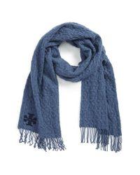 Tory Burch Blue 'whipstitch T' Merino Wool Scarf