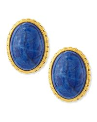 Jose & Maria Barrera | Blue Oval Sodalite Button Clip-On Earrings | Lyst