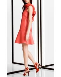 Carolina Herrera Red Sleeveless Heavy Gazar Mini Dress