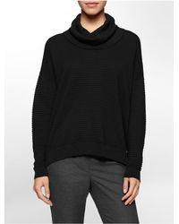 Calvin Klein | Black White Label Rib Knit Cowl Neck Cotton Blend Sweater | Lyst