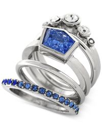Vince Camuto | Rhodium-tone Blue And Clear Crystal Stacked Ring | Lyst