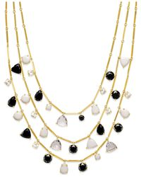 kate spade new york - Multicolor 12k Gold-plated Multi-strand Stone Necklace - Lyst