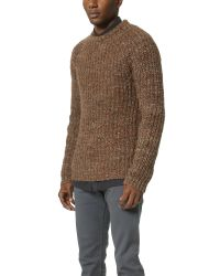 Billy Reid - Orange Raglan Shaker Stitch Crew Sweater for Men - Lyst