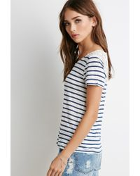 Forever 21 Natural Lace-paneled Stripe Tee