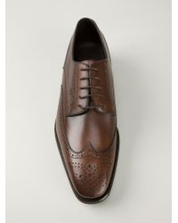 Canali   Brown Punch Hole Detail Oxford Shoes for Men   Lyst