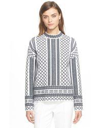 Tory Burch Gray Merino Jacquard Sweater