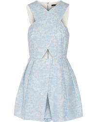 Tibi - Blue Mariko Cutout Cotton-blend Playsuit - Lyst