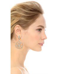 Oscar de la Renta Metallic Pave Flower Clip On Earrings - Crystal/silver