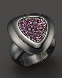 Roberto Coin | Pink Ruthenium And Sterling Silver Ring With Rhodolite | Lyst