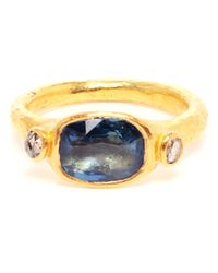Ram | Metallic 22k Gold and Sapphire Ring | Lyst