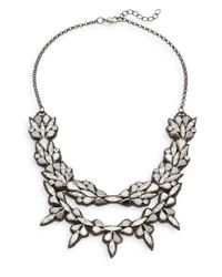 Deepa Gurnani | Metallic Double Row Austrian Crystal & Suede Bib Necklace | Lyst