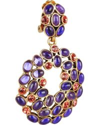 Oscar de la Renta | Purple Gold-Plated Swarovski Crystal Clip Earrings | Lyst
