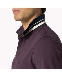 Tommy Hilfiger - Purple Cotton Pique Long Sleeve Polo for Men - Lyst
