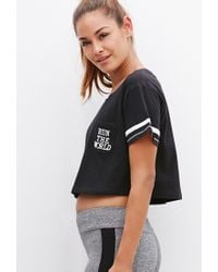 Forever 21 | Black Run The World Crop Top | Lyst
