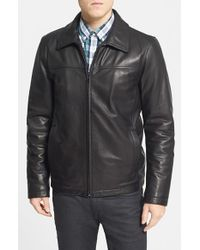 Vince Camuto Black Insulated Leather Moto Jacket for men