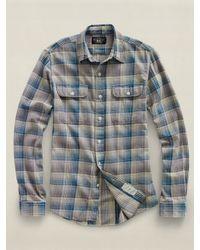 RRL - Blue Matlock Workshirt for Men - Lyst