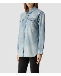 AllSaints Blue Womens Cannon Shirt