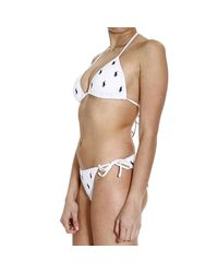 Ralph Lauren Blue Label | White Swimwear Bikini Triangle Multipony | Lyst