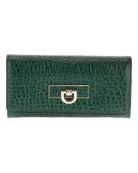 DKNY Green Textured Foldover Wallet