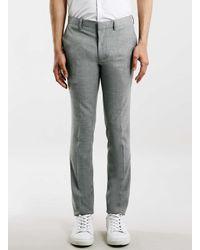 TOPMAN - Gray Grey Melange Ultra Skinny Fit Suit Trousers for Men - Lyst