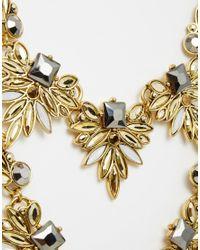 Little Mistress | Metallic Statement Double Row Necklace | Lyst
