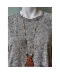 Spectrum | Brown Wood Trapezoid Necklace | Lyst
