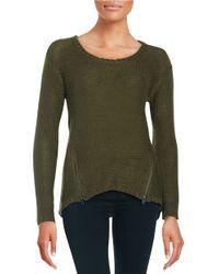 Lord & Taylor Green Hi-lo Zip Sweater