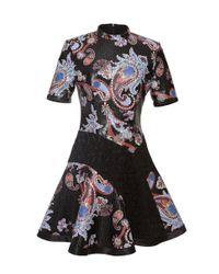 Mary Katrantzou | Black Laminated Cotton Canvas & Lace Dress | Lyst